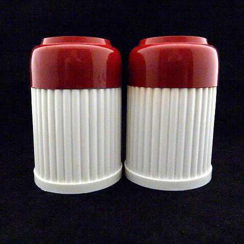 Vintage White/Red Plastic Salt and Pepper Shakers