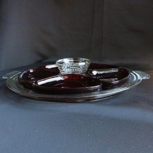 Vintage Manhattan Ruby Red Relish Set