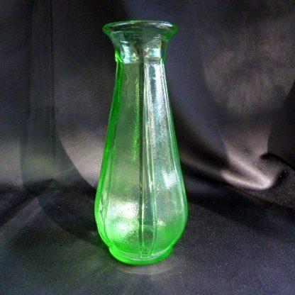 Green Glass Flat Top Paneled Vintage Vase