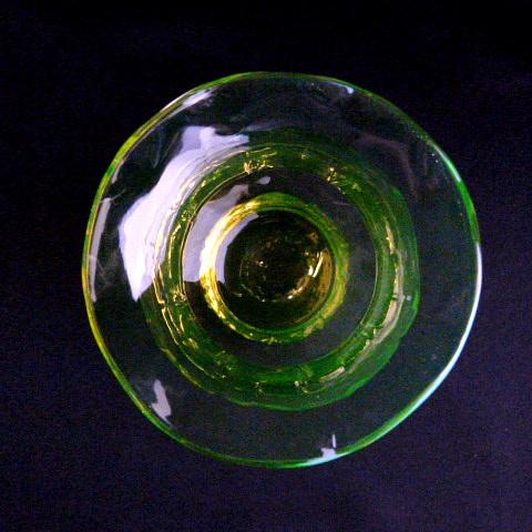 Green-Yellow Glass Hand Blown Bud Vase