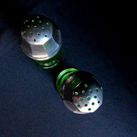 Green Glass Salt & Pepper Shakers