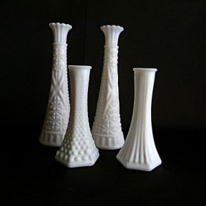 4 Milk Glass Bud Vases