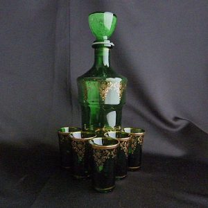 Mid-Century Bohemian Green Glass Set