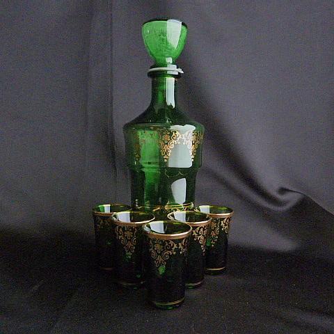 Mid-Century Bohemian Green Glass Set