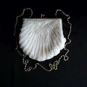 Vintage Hand Beaded Seed Pearl Beaded Clutch Purse