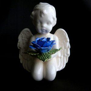 Angel Cherub with Blue Rose