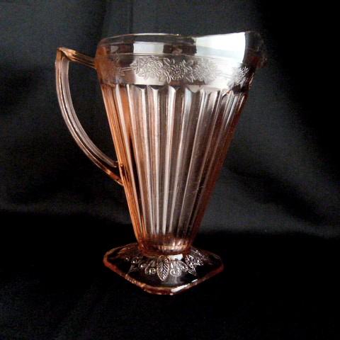Depression Glass -Jeannette Adam Pink Glass Pitcher