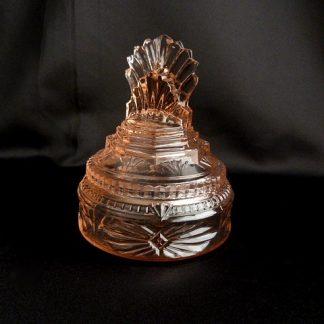 Pink Glass Pleated Fan Jar
