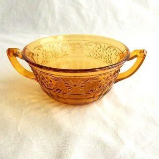 Daisy Pattern Amber Cream Soup Bowl