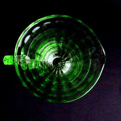 Block Optic Green Glass Creamer