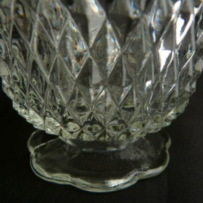 Diamond Point Clear Glass Candle Holder