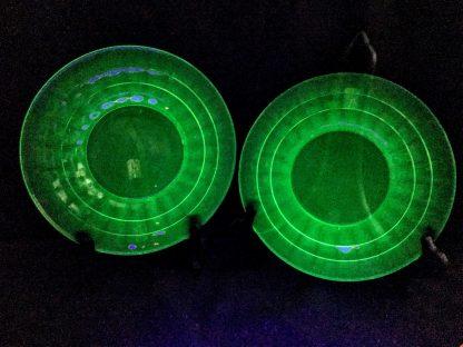 Green Depression Block Optic Glass Cereal Bowl