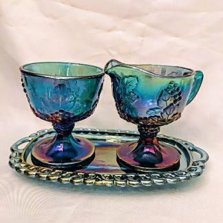 Iridescent Blue Grape Glass Set