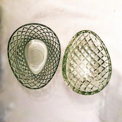 Vintage Clear Glass Diamond Point Block Egg